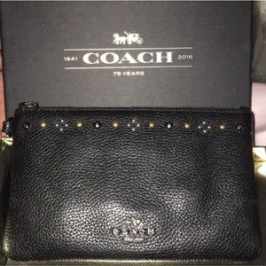Black Leather Coach Wristlet with Stud Detail